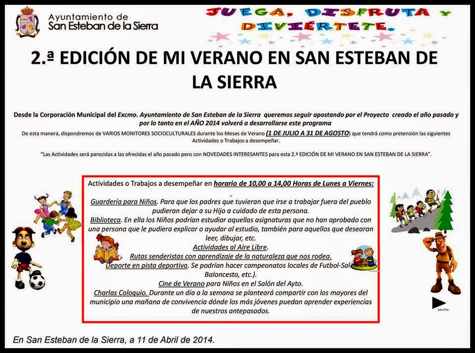 """31(hasta)/Agosto. 2ª Edición de """"Mi Verano"""". San Esteban de la Sierra"""