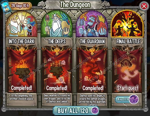 imagen del cuarto segmento o cuarto mini juego de la isla calabozo de dragon city