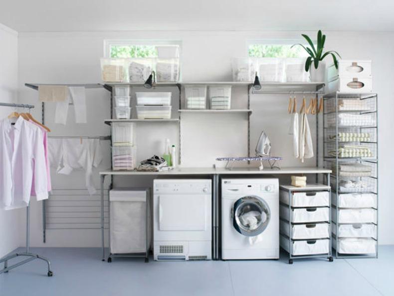 White coastal laundry room organized
