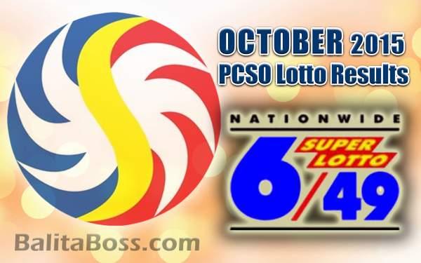 October 2015 SuperLotto 6/49 PCSO Lotto Results