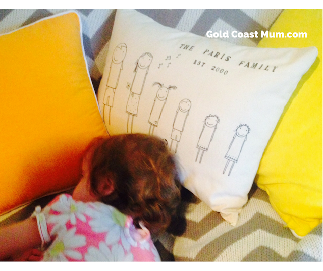 Gold Coast Mum blog, personalised family cushion