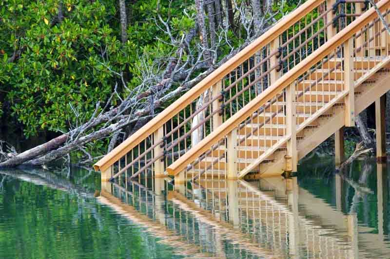 reflection, wooden stairs, river