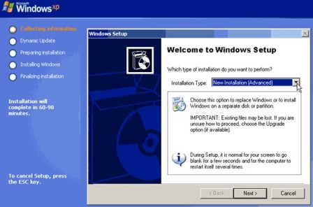 pasang windows xp,install windows xp