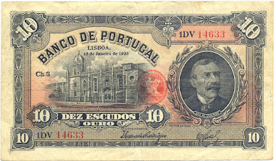 Portugal currency money 10 Portuguese Escudos note, Eça de Queiroz