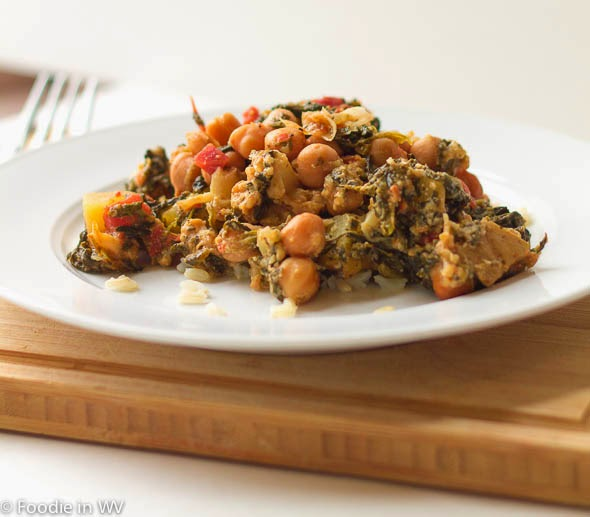Slow Cooker Curried Chickpeas and Spinach