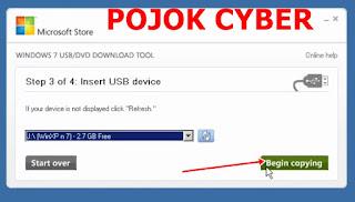"""Klik """"Begin Copying"""" untuk memulai penyalinan isi file ISO ke UFD"""