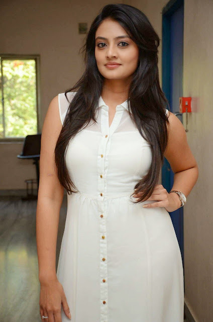 Actress Nikitha Narayan Picture Gallery in White Dress at Ladies and Gentleman Movie Press Meet 11.JPG