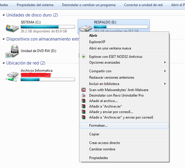 formatear disco duro windows 7