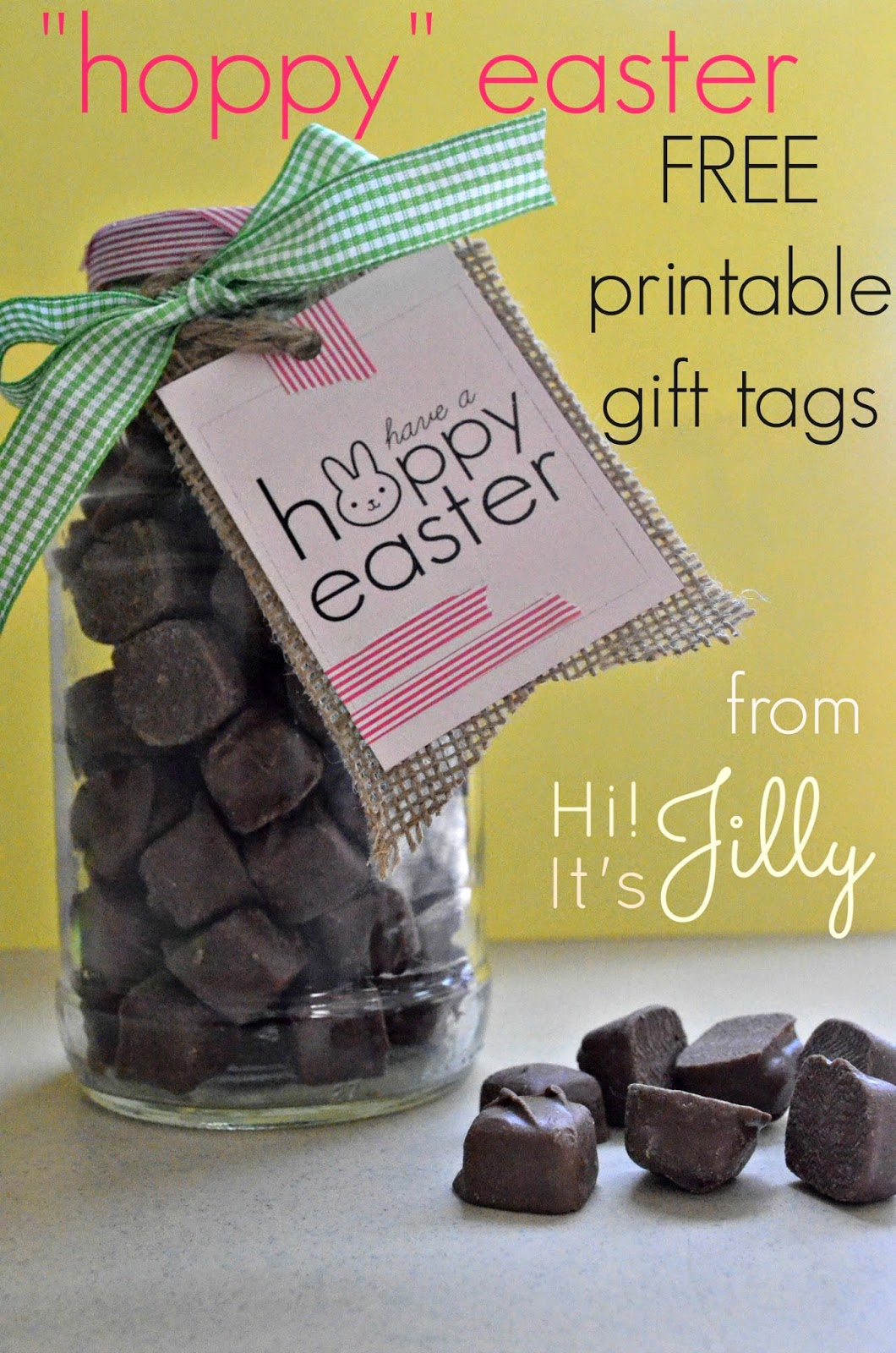 "These treat jars are so darling! FREE Printable ""Hoppy"" Easter gift tag. #easter #gift #printable #shop #EatMoreBites"