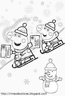 Blog de los nios Dibujos de Navidad de Peppa Pig para colorear