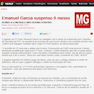 Emanuel Garcia do FCPorto, foi suspenso 6 meses DEVIDO A CONTROLO ANTI-DOPING POSITIVO