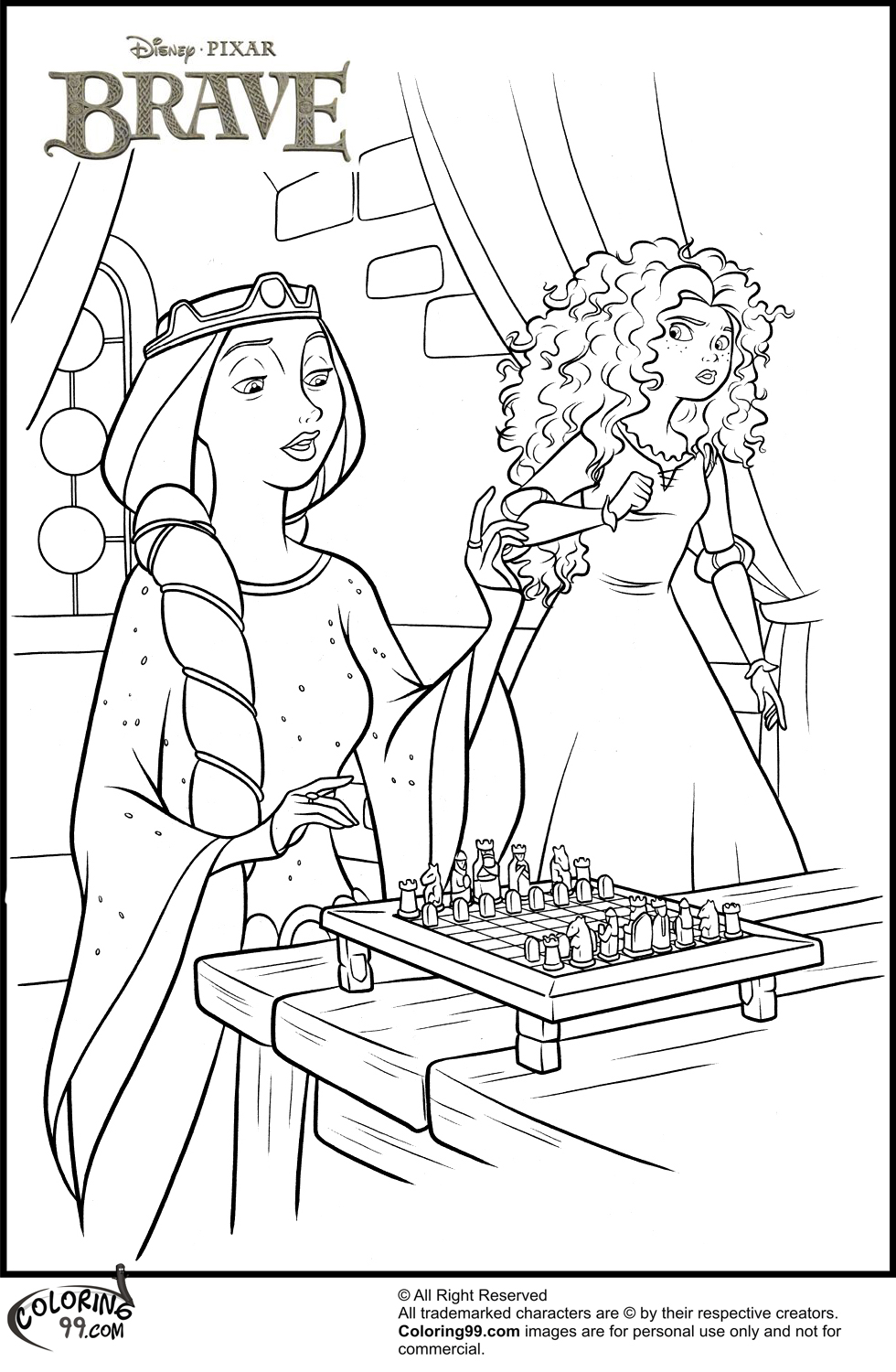 Coloring Pages Princess Merida : Disney princess merida coloring pages team colors
