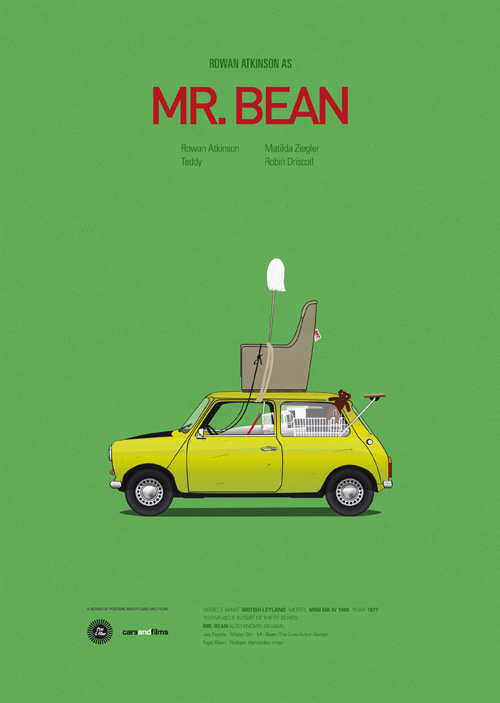 Carros famosos do cinema em posters minimalistas - Jesús Prudencio - Mr. Bean