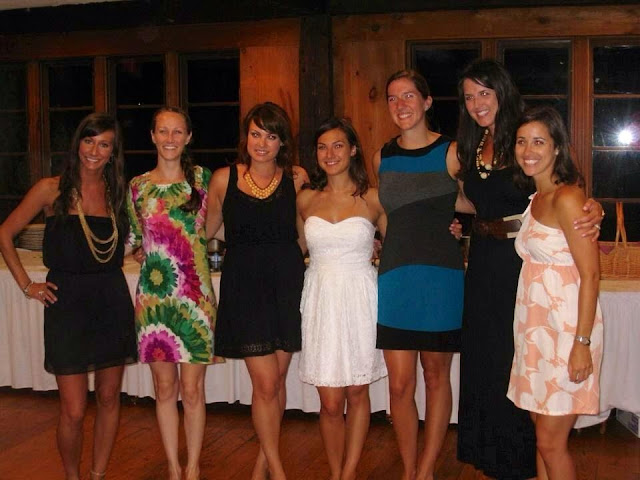 Bridesmaids at rehearsal dinner