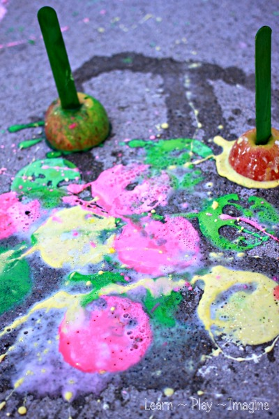 Erupting apple prints!  A fizzing twist on a fall classic.