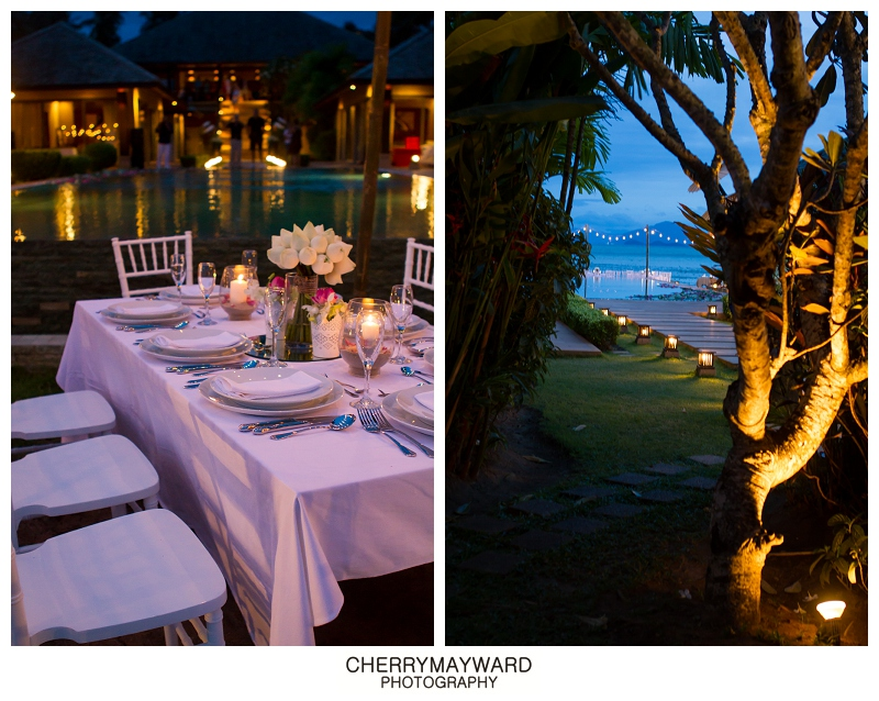 Dinner reception decorations and lighting by Partners Samui Wedding planners, Ama Lur, The Palace, Koh Samui wedding