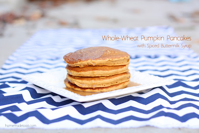 Whole Wheat Pumpkin Pancakes with Spiced Buttermilk Syrup