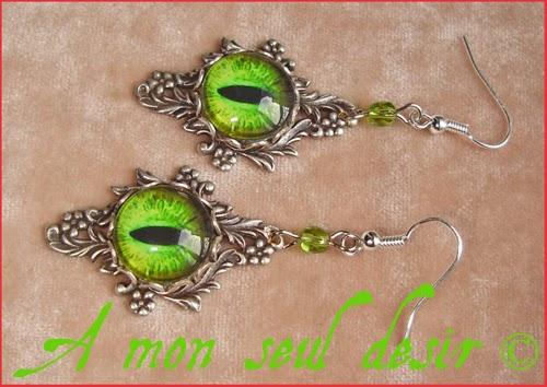 Boucles d'Oreilles Oeil Yeux Dragon Vert Daenerys Targaryen Bijou Green Eyes Earring