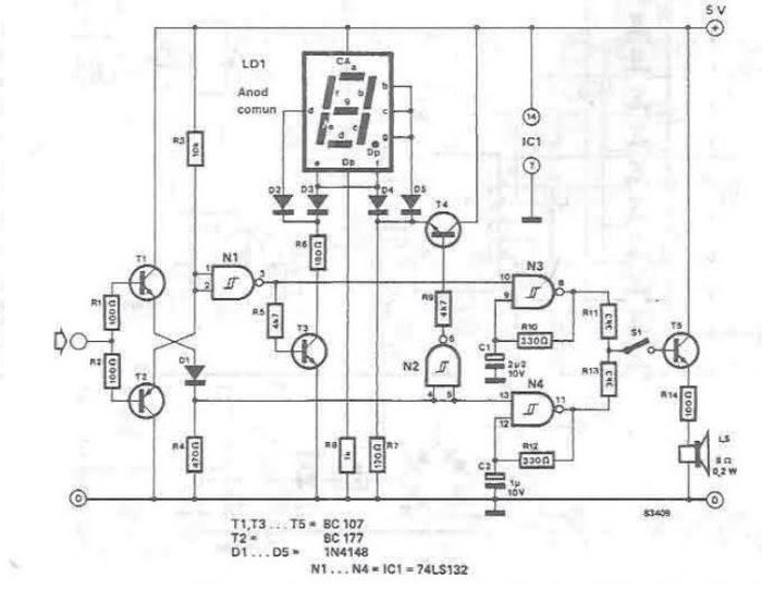 Testeur logique avec sept segments d 39 affichage for Porte logique and transistor