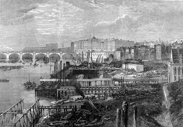 """Embankment Construction of the Thames Embankment ILN 1865"" by The Illustrated London News - Original: ""The Thames Embankment"". The Illustrated London News [London, England] 4 February 1865; p. 112; Issue 1300This copy: http://www.iln.org.uk/iln_years/year/1865.htm. Licensed under Public Domain via Wikimedia Commons - http://commons.wikimedia.org/wiki/File:Embankment_Construction_of_the_Thames_Embankment_ILN_1865.jpg#/media/File:Embankment_Construction_of_the_Thames_Embankment_ILN_1865.jpg"