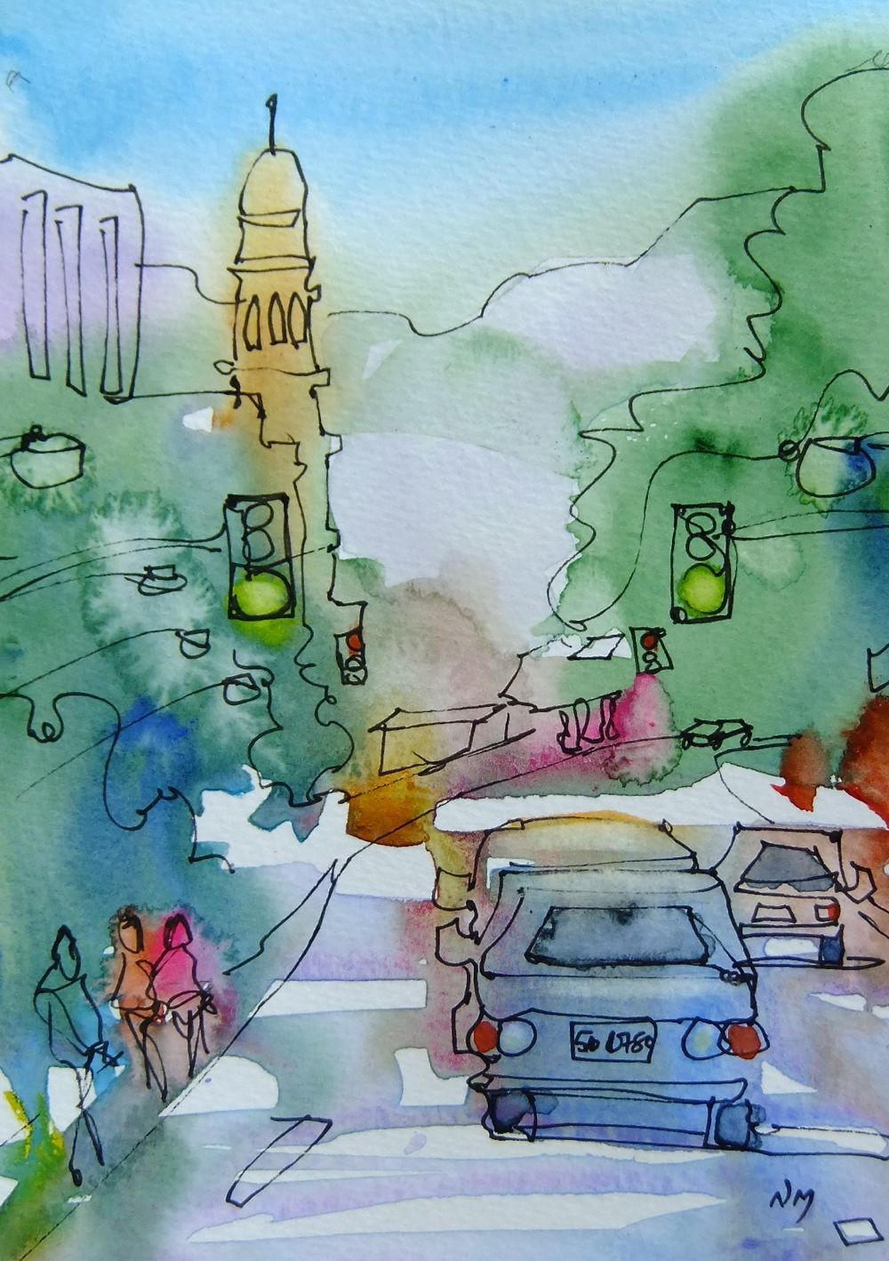 Line Drawing With Watercolor : Nora macphail artist follow me home