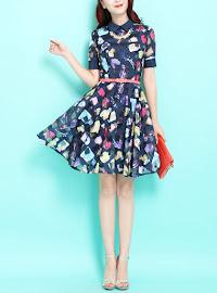 Perfume Bottles Short Sleeve Chiffon Organza Flare Dress