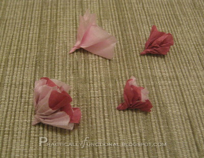 Twisted tissue paper flowers