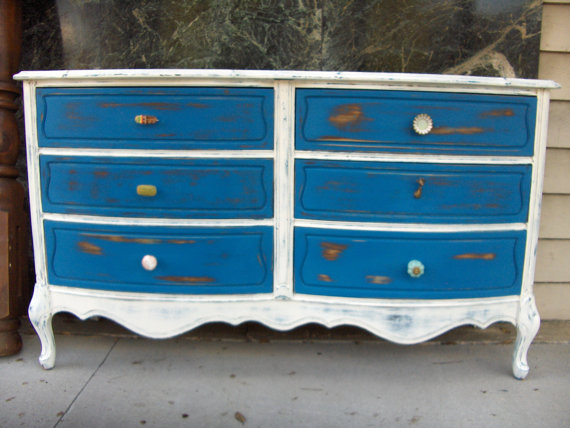 French Country Shabby Chic Inspired Dresser With Variety Blue White