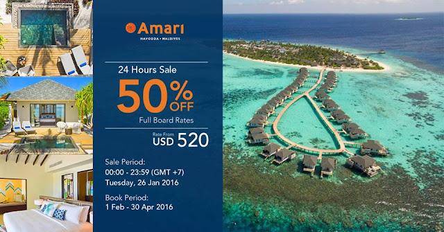 Amari 馬爾代夫酒店 開業【限時24小時】優惠半價起,4月底前入住,只限今日(1月26日)。
