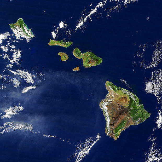 High-resolution satellite image of the State of Hawaii