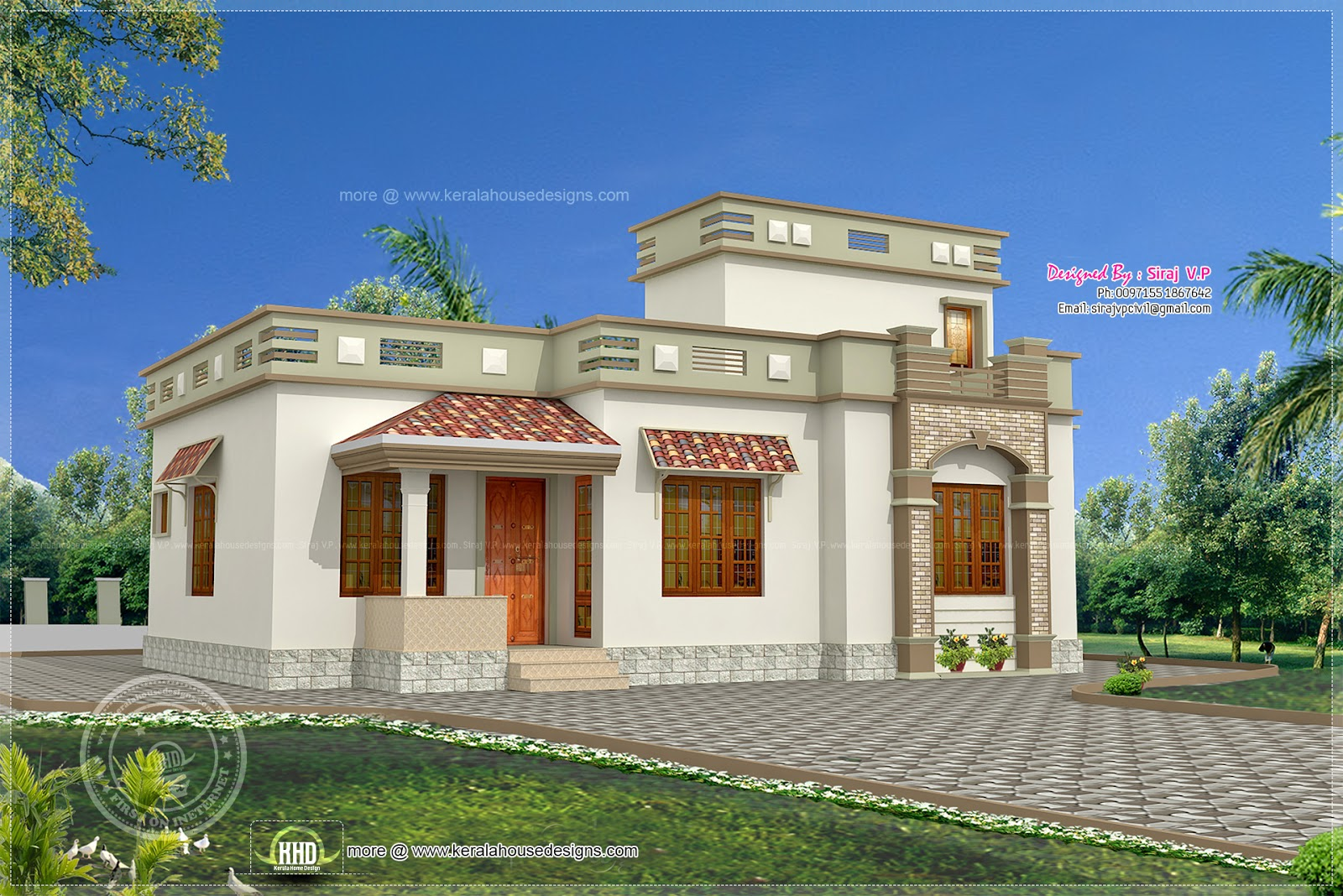 Low budget kerala style home in 1075 house for House designs kerala style low cost