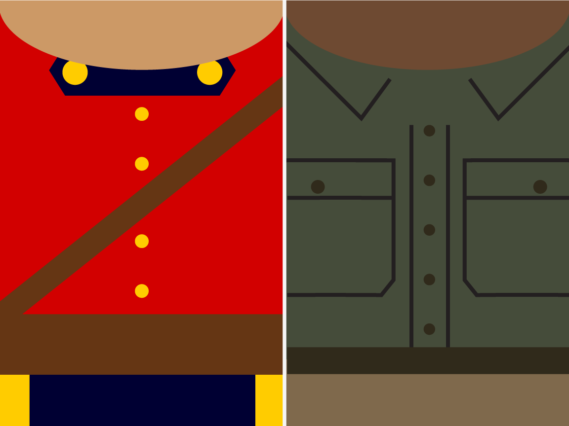 minimalist mountie and game ranger designs