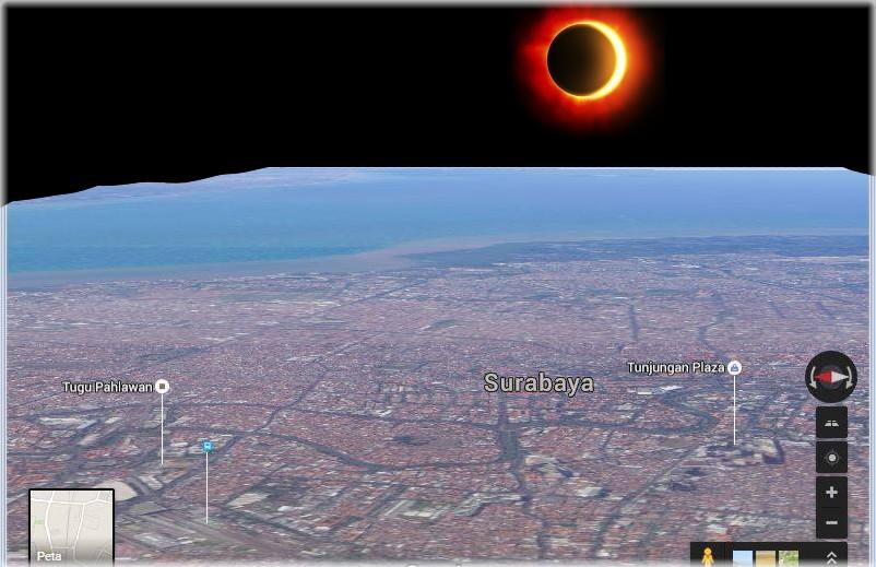 ilustrasi (dramatisir) gerhana matahari di langit surabaya 9 maret 2016