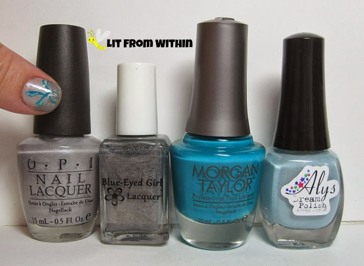 Bottle shot:  OPI Sheer Your Toys, Blue-Eyed Girl Lacquer Don't Worry I Don't Bite, Morgan Taylor Gotta Have Hue, and Aly's Dream Polish Bayouberry.