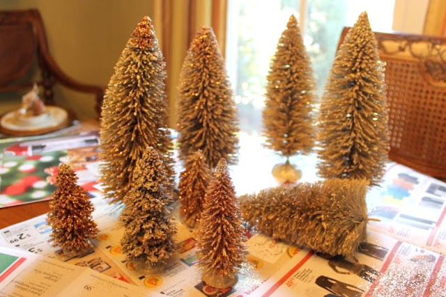 glittering bottle brush trees