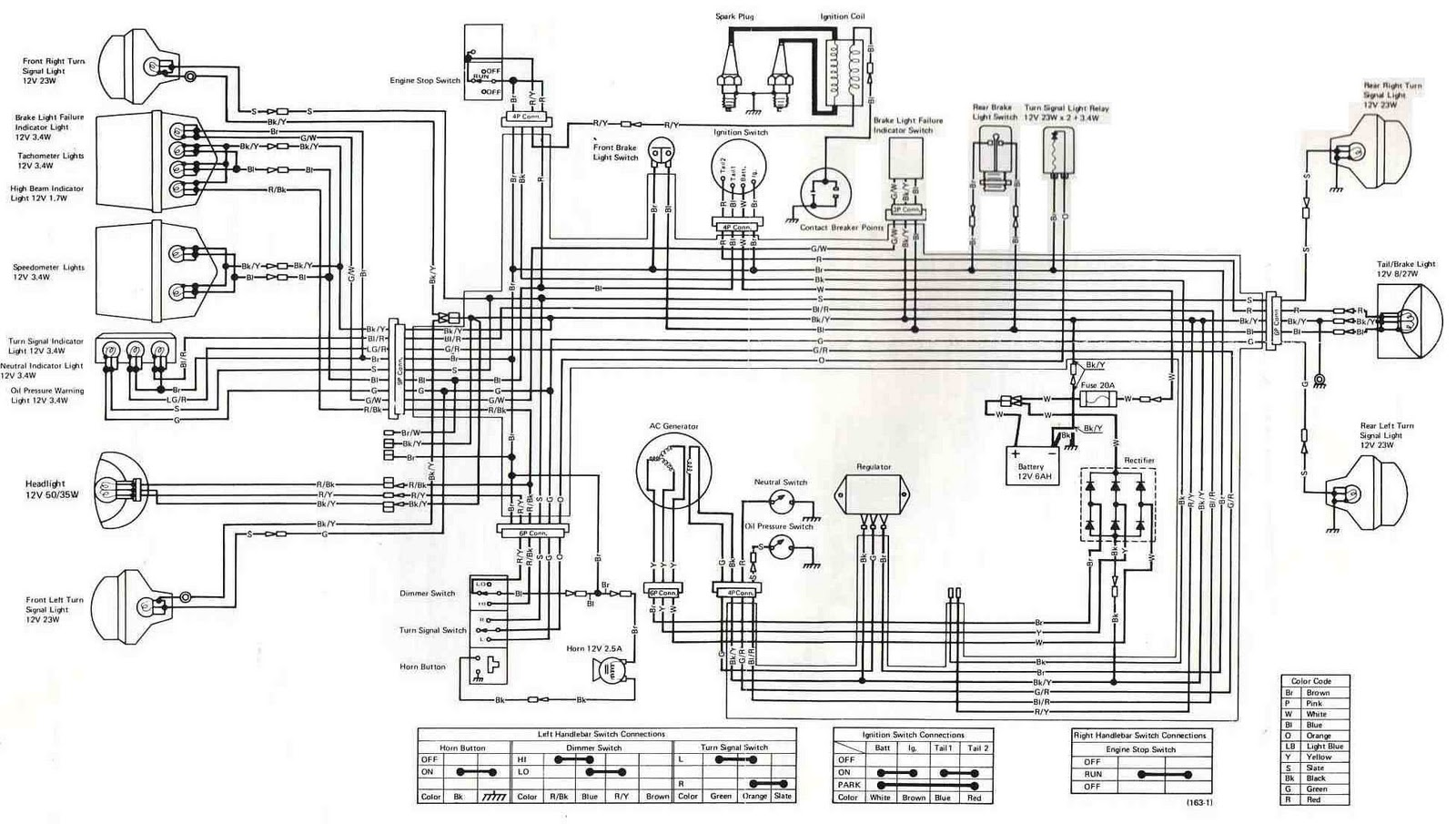 Kawasaki Kz400 1975 Electrical Wiring on kawasaki bayou 220 parts diagram