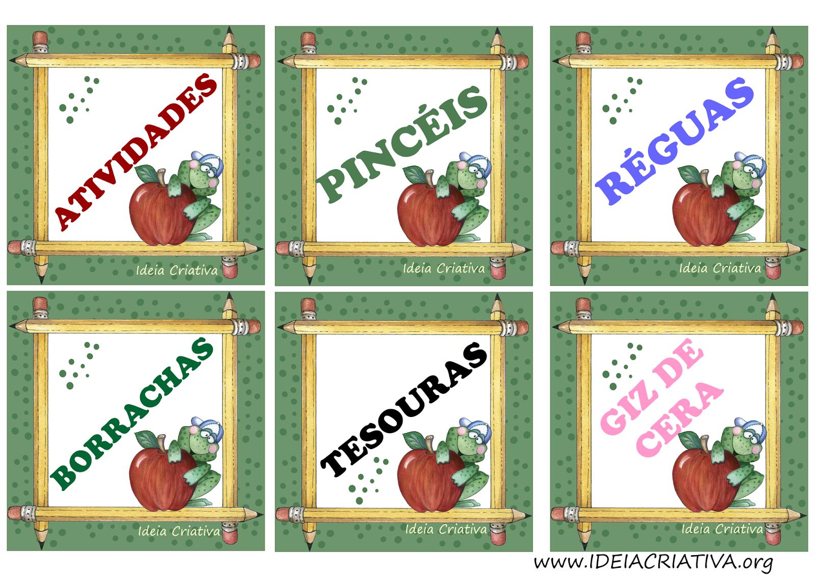 Etiquetas para organizar material Sapinho com Maçã