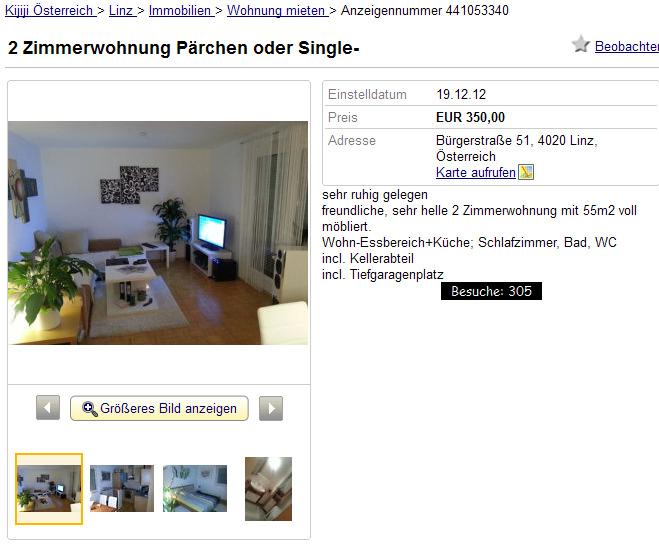 Singlewohnung im Zentrum in Linz auf Kleinanzeigen.at