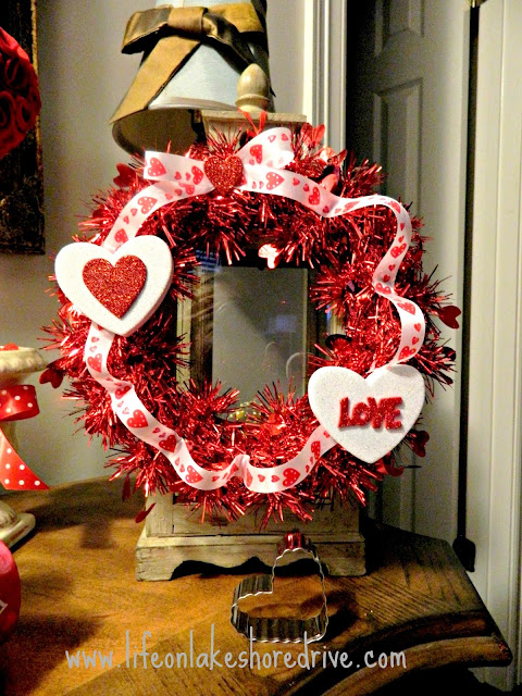 Valentine's Day wreath, Dollar Tree decor