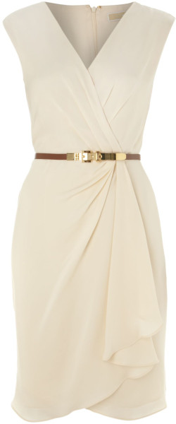 Beige Sleeveless Designer Dress