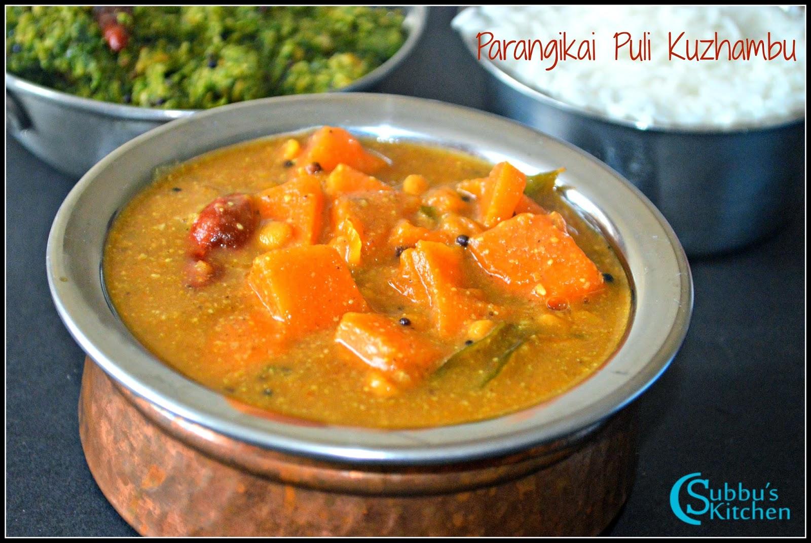 Parangikai Puli Kuzhambu Recipe | Yellow Pumpkin Kuzhambu