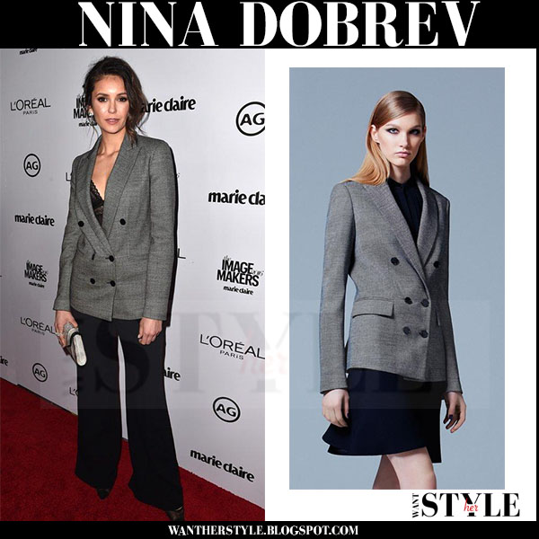 Nina Dobrev in grey double breasted elie saab blazer and black pants marie claire awards red carpet what she wore