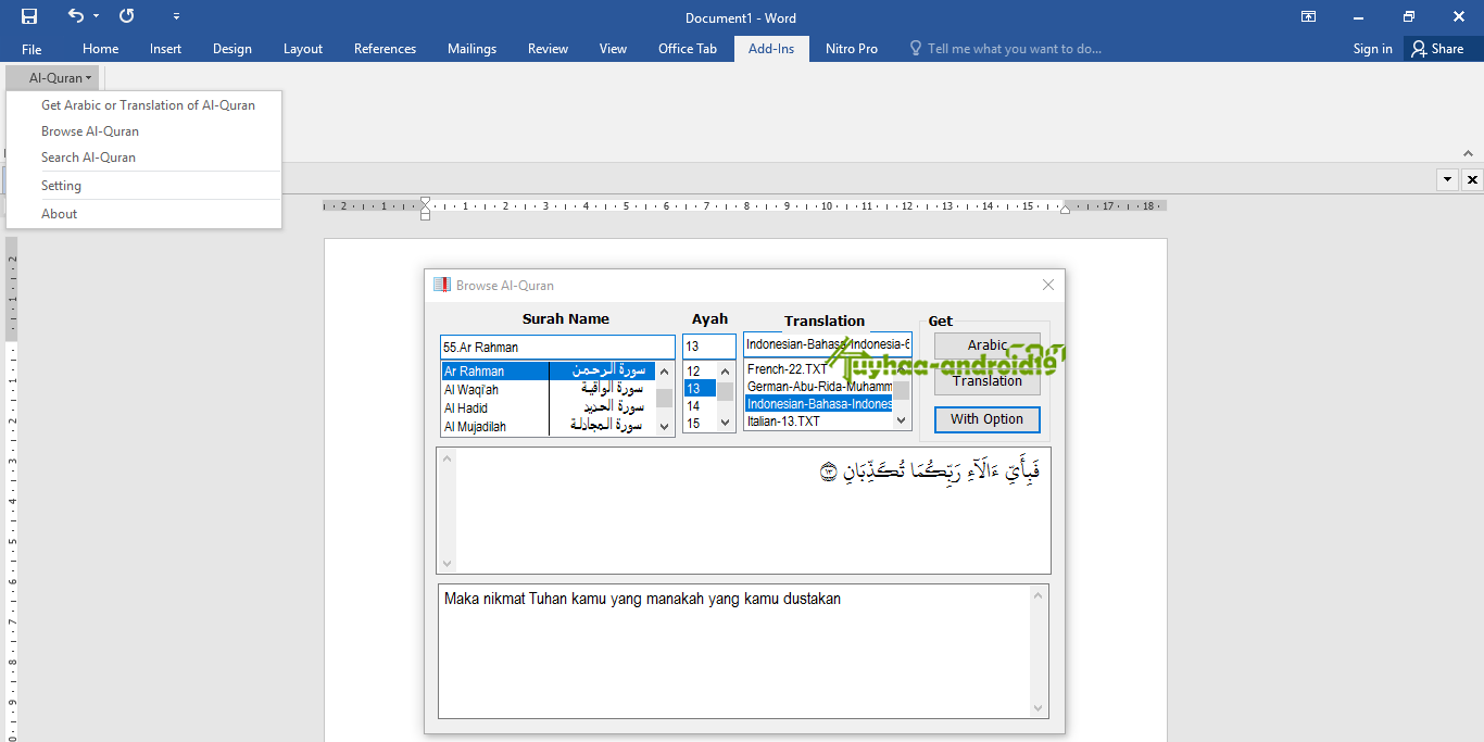 Quran in Ms Word kuyhaa