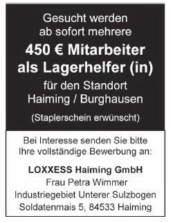 arbeitsmarkt inn salzach loxxess haiming gmbh sucht lagerhelfer m w. Black Bedroom Furniture Sets. Home Design Ideas