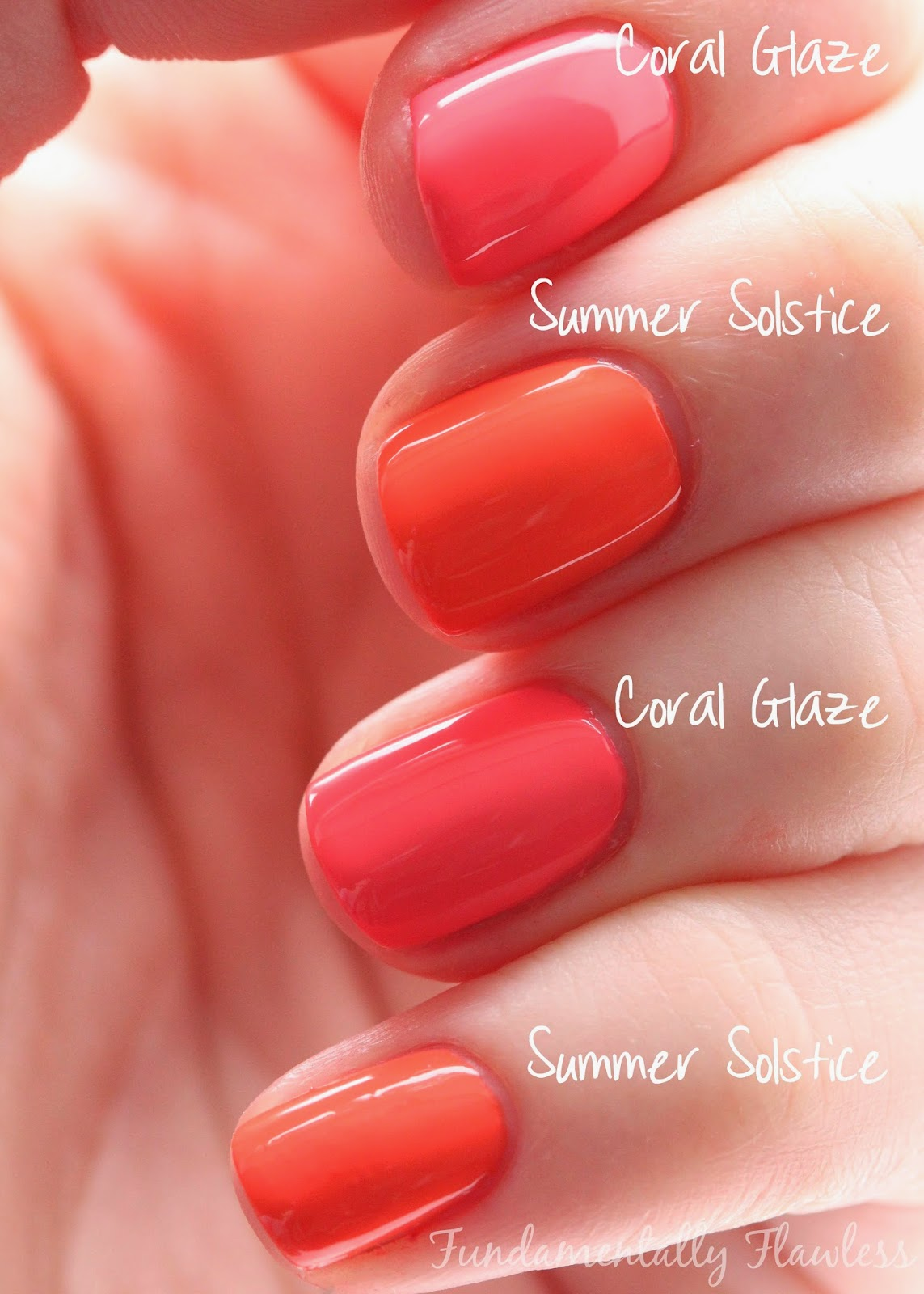 Models Own Hypergel Summer Solstice vs Coral Glaze swatch