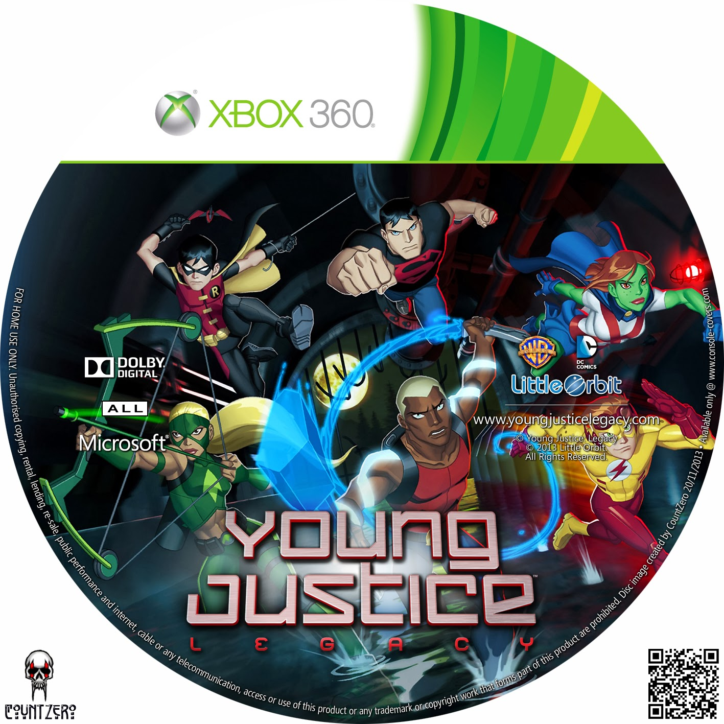 Label Young Justice Legacy Xbox 360 ~ Gamecover | Download de capas