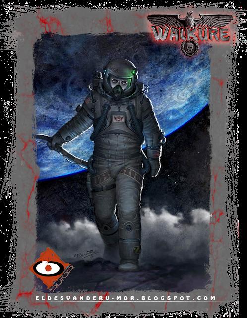 ilustración de personaje (Astronauta NSA) hecha por ªRU-MOR, para el juego de rol ucrónico WALKÜRE, sci-fi
