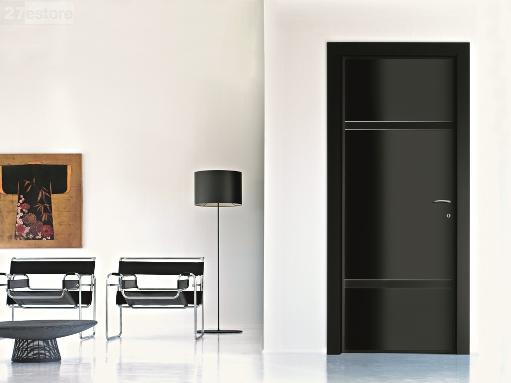 Low sheen glossy black interior door doors living room for Black in interior design