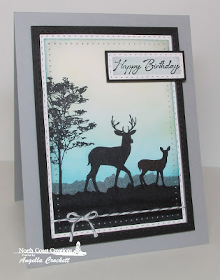NCC Deer Silhouette Greetings, ODBD Custom Double Stitched Rectangles Dies, Card Designe Angie Crockett