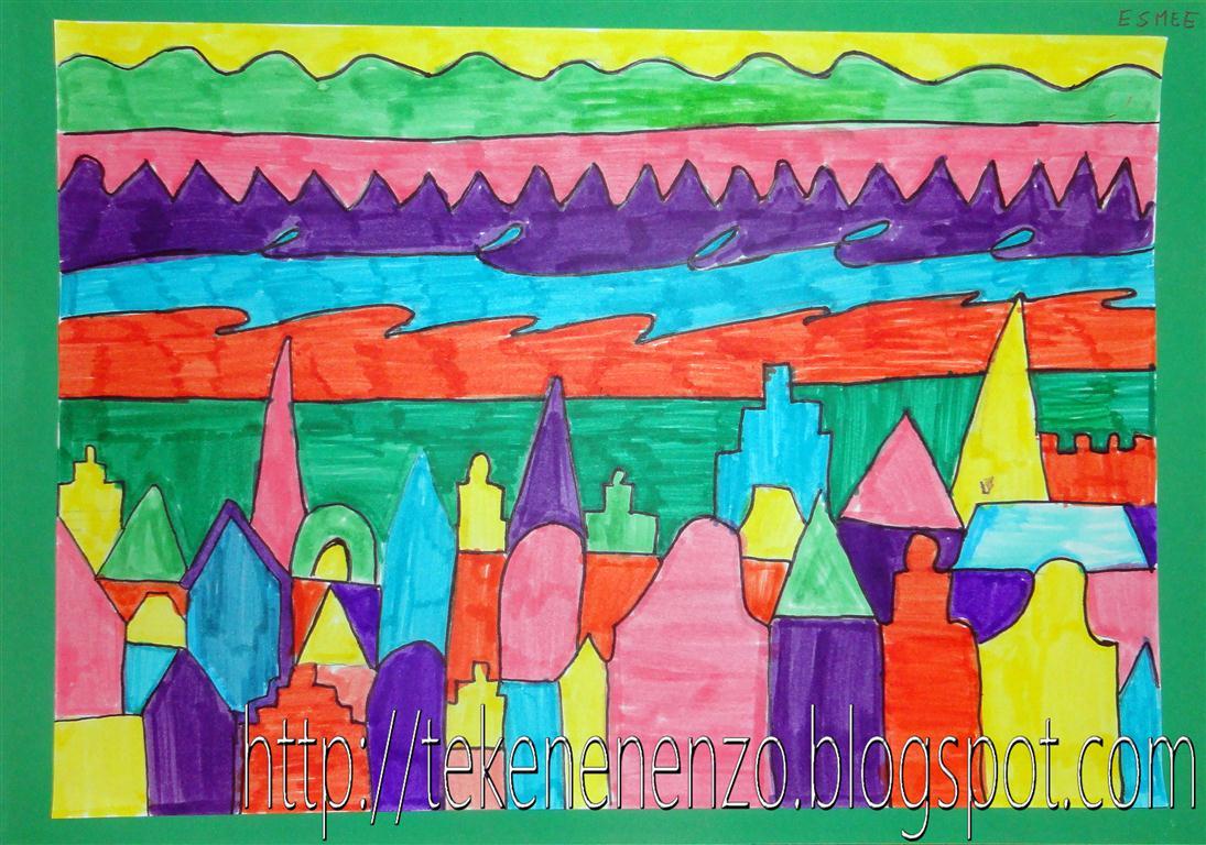 Tekenen en zo kleurige stad for Huizen tekenen